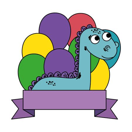 cute diplodocus with balloons helium frame vector illustration design