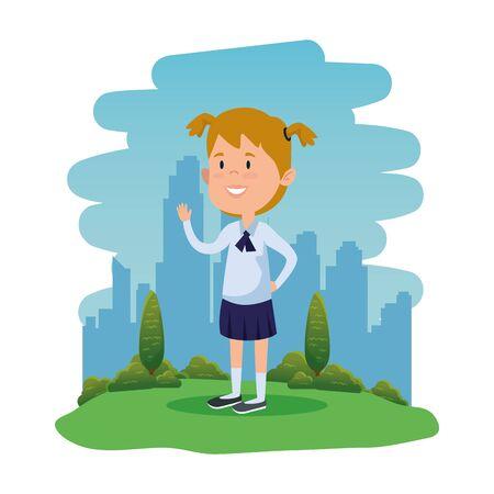happy student girl in the field vector illustration design Standard-Bild - 129795679