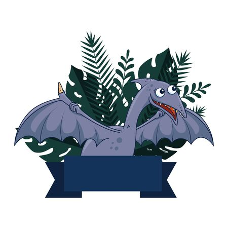 cute Pterodactyl comic character icon vector illustration design