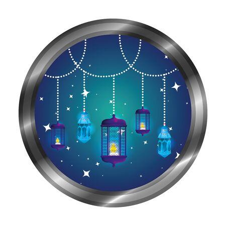 seal with ramadam karem lamps hanging vector illustration design