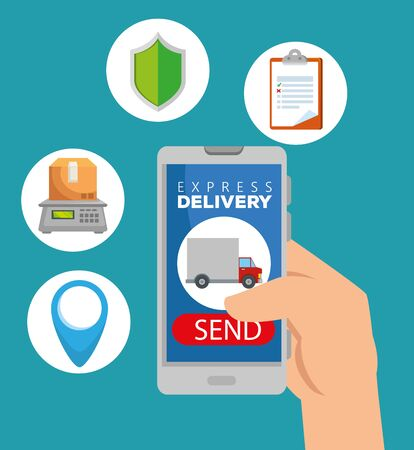hand with smartphone and distribution package service to delivery vector illustration Stock Vector - 129795714