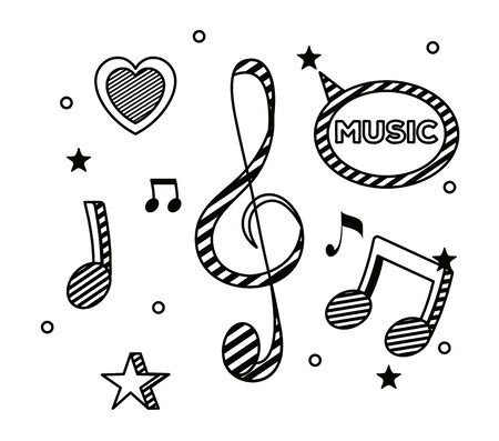 treble clef and quaver with beam notes and stars with hearts to music melody vector illustration