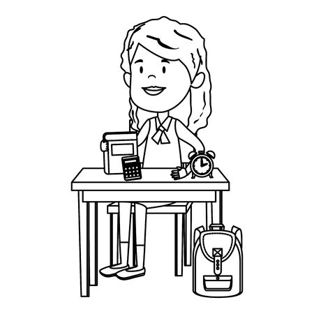 happy student girl with supplies seated in school desk vector illustration design Standard-Bild - 129795723