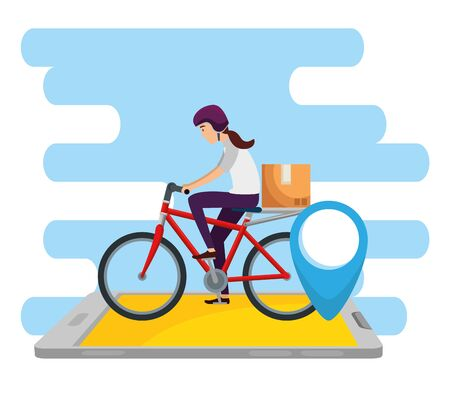 woman with bicycle and box package in the smartphone to delivery service vector illustration