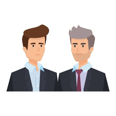 couple of businessmen avatars characters vector illustration design  イラスト・ベクター素材