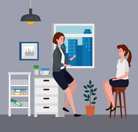 businesswomen teamwork with file cabinet and window to office work, vector illustration