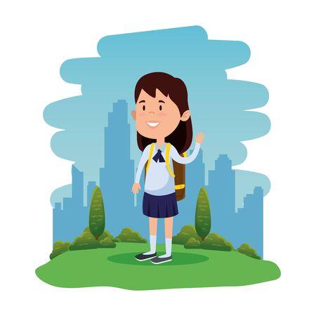 happy student girl with school bag in the field vector illustration design Standard-Bild - 129795770
