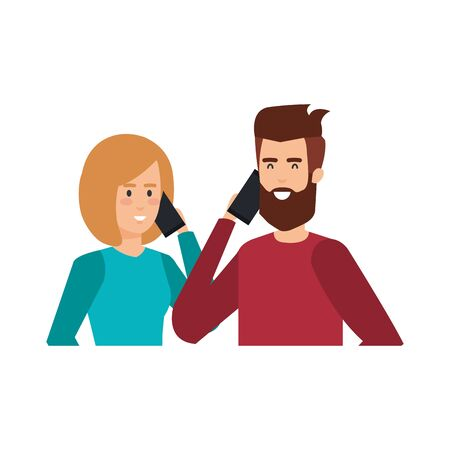 young couple with smartphone avatars characters vector illustration design Illustration