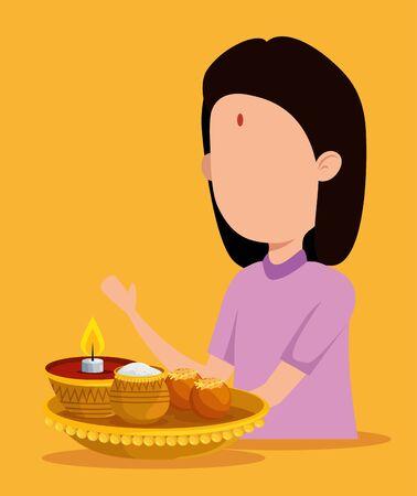 hindu girl with candle and traditional food to raksha bandhan, vector illustration
