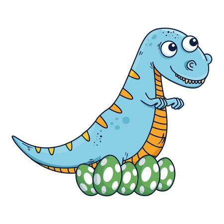 mother tyrannosaurus rex care of their eggs comic character vector illustration  イラスト・ベクター素材