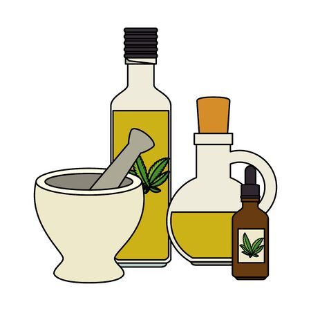 bottles with cannabis extract products and grinder vector illustration design