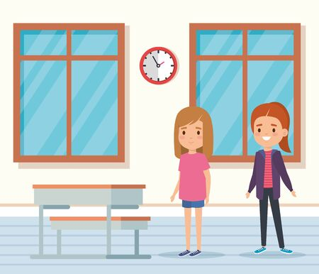 girls children learning in the academic classroom with desk and window vector illustration