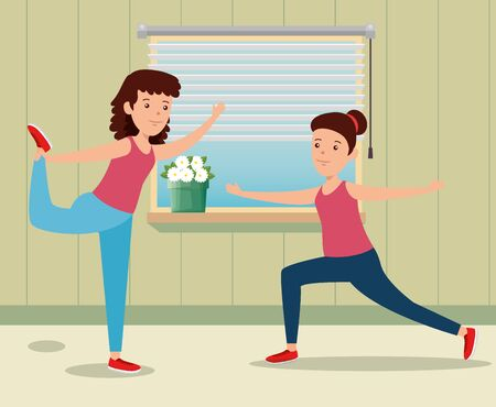 girls training yoga activity in the home to summer sport vector illustration