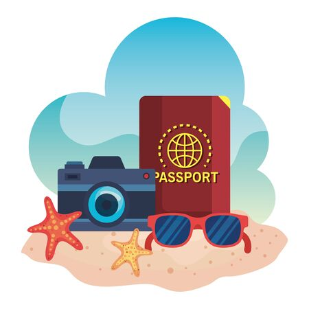 camera with passport and sunglasses with starfishes in the sand beach to summer time vector illustration
