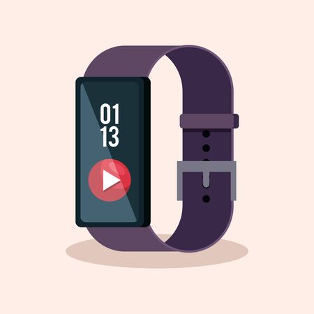 smartwatch technology with video digital app vector illustration Illustration