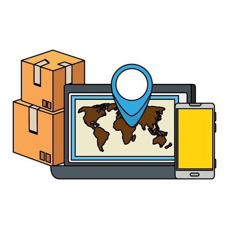 box carton with laptop and smartphone delivery service vector illustration design