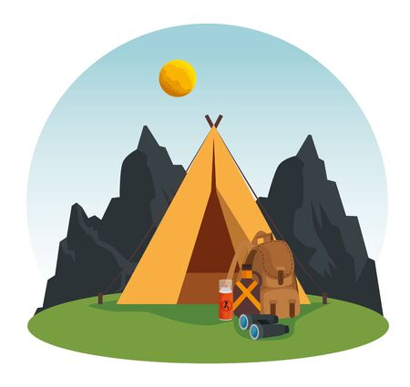 nature mountains landscape with camp and binoculars to summer adventure vector illustration Stockfoto - 129796060