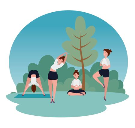 women practice yoga exercise posture with tree and bushes plants, vector illustration