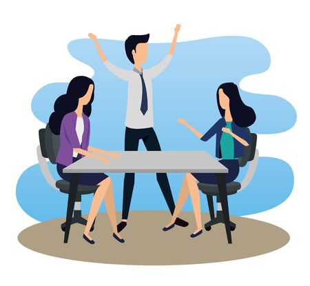 businessman and bsuinesswoman teamwork with elegant clothes to strategy plan, vector illustration Standard-Bild - 129796079