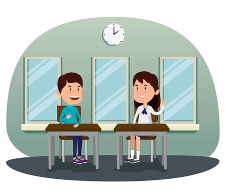 girl and boy students in the desk with windows and clock to back to school vector illustration 向量圖像