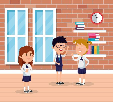 little students group in the school scene vector illustration design Ilustração