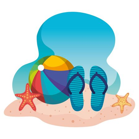 beach ball with flip-flop and starfishes in the beach sand to summer time vector illustration