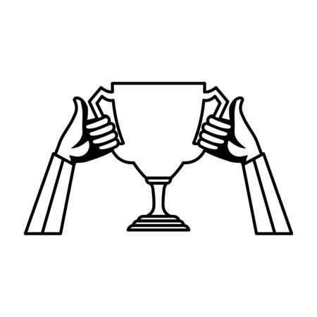 hands lifting trophy cup award vector illustration design Stockfoto - 129796131