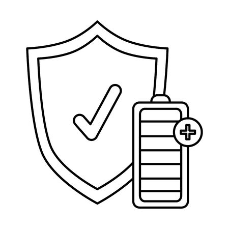 shield with check symbol and battery energy level vector illustration design