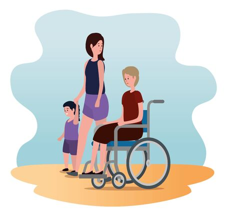 old woman in the wheelchair with her daughter and grandson to family together, vector illustration