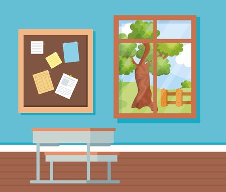 academic classroom with note board and desk vector illustration