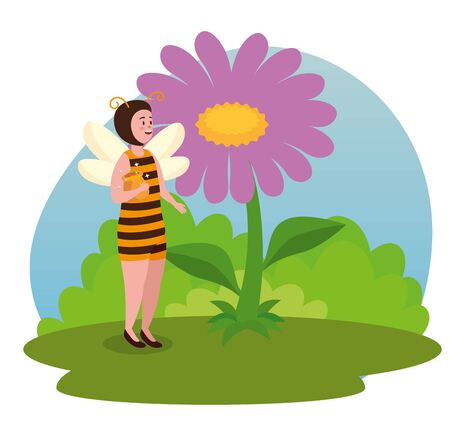 girl bee fairy with flower plant and leaves to tale character, vector illustration Archivio Fotografico - 129796260