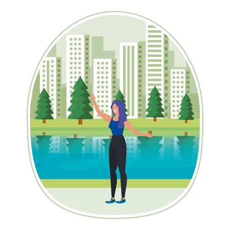 happy young woman celebrating in the park vector illustration design
