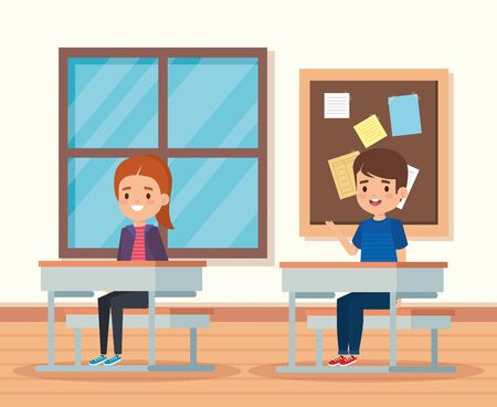 boy and girl children in the education classroom with desk and note board vector illustration
