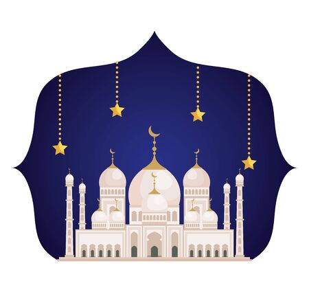 label with architecture castle and stars hanging to eid al adha, vector illustration