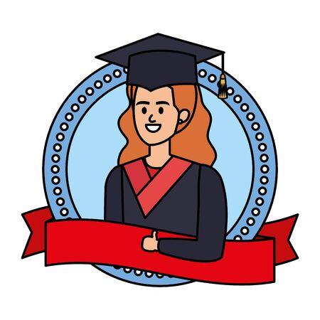 young woman student graduated in ribbon emblem vector illustration design