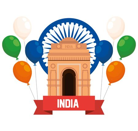india emblem with architecture and balloons with ribbon to independence day vector illustration