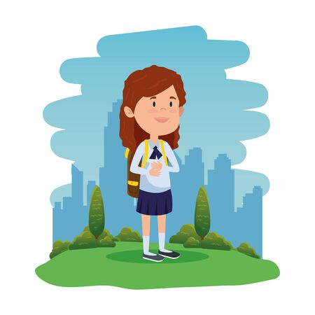 happy student girl with school bag in the field vector illustration design Standard-Bild - 129796279