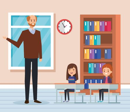 man teacher with kids in the classroom and bookcase to academic eduation vector illustration