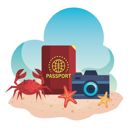 camera with passport and crab with starfishes in the beach sand to summer time vector illustration