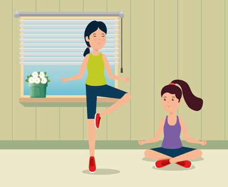 girls training yoga exercise activity in the home to summer sport vector illustration
