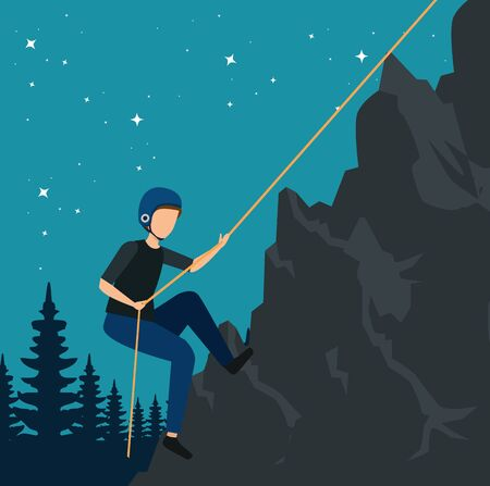 man climbing in the nature mountain with rope to tourism adventure vector illustration