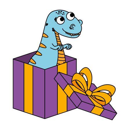 cute tyrannosaurus rex in giftbox present vector illustration design