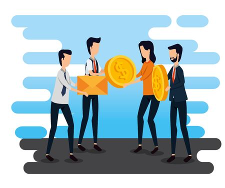 businessmen and businesswoman teamwork with letter and coins to social plan, vector illustration Standard-Bild - 129799202