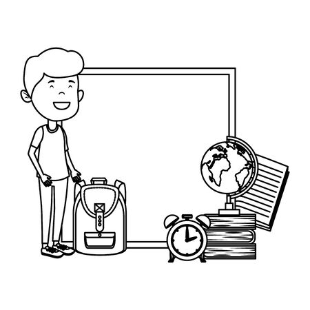 happy student boy with chalkboard and alarm clock vector illustration design
