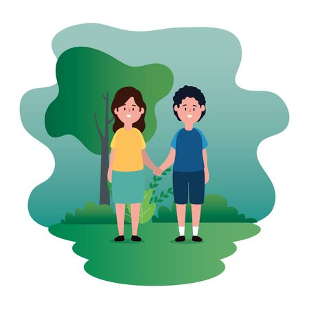 nice girl and boy children with casual clothes and tree with bushes plants, vector illustration Ilustração
