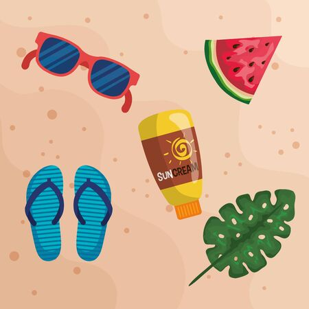 sunglasses with watermelon fruit and suncream with flip-flop to summer time vector illustration Illustration