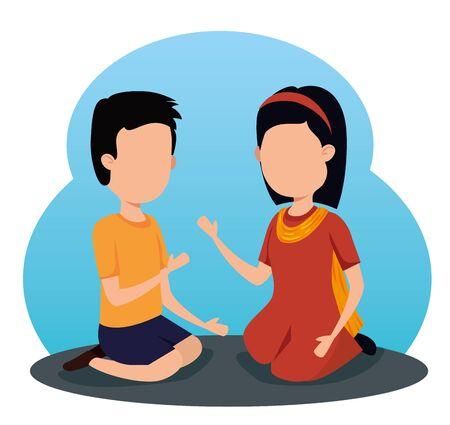 girl and boy siblings traditional celebration to raksha bandhan, vector illustration