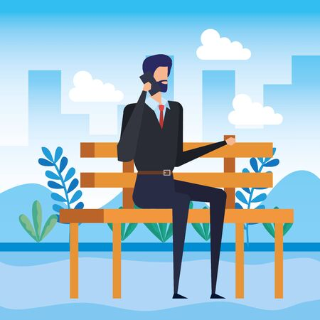 businessman calling with smartphone seated in the park chair vector illustration Illustration