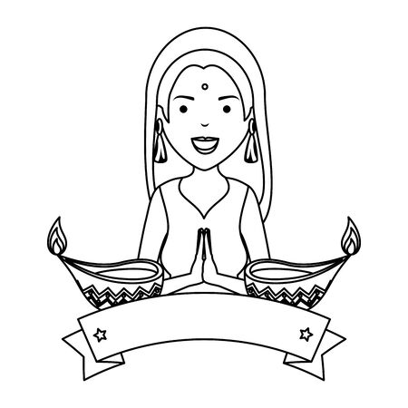beautiful woman from india with ornamental candles vector illustration design Illustration