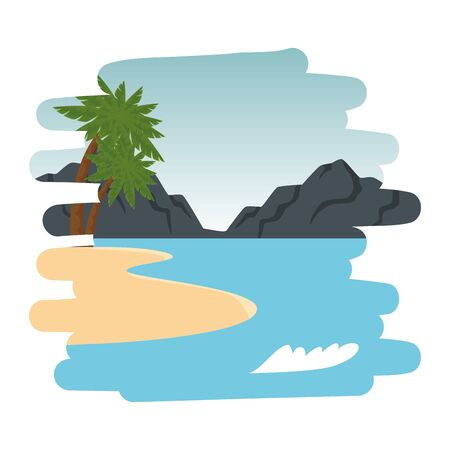 beach scene summer landscape icon vector illustration design